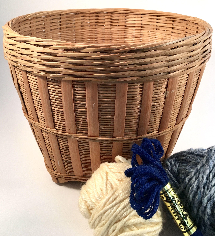 Vintage Woven Basket Round Wicker Basket Storage Basket Etsy In 2020 Wicker Baskets Storage Wicker Baskets Wicker