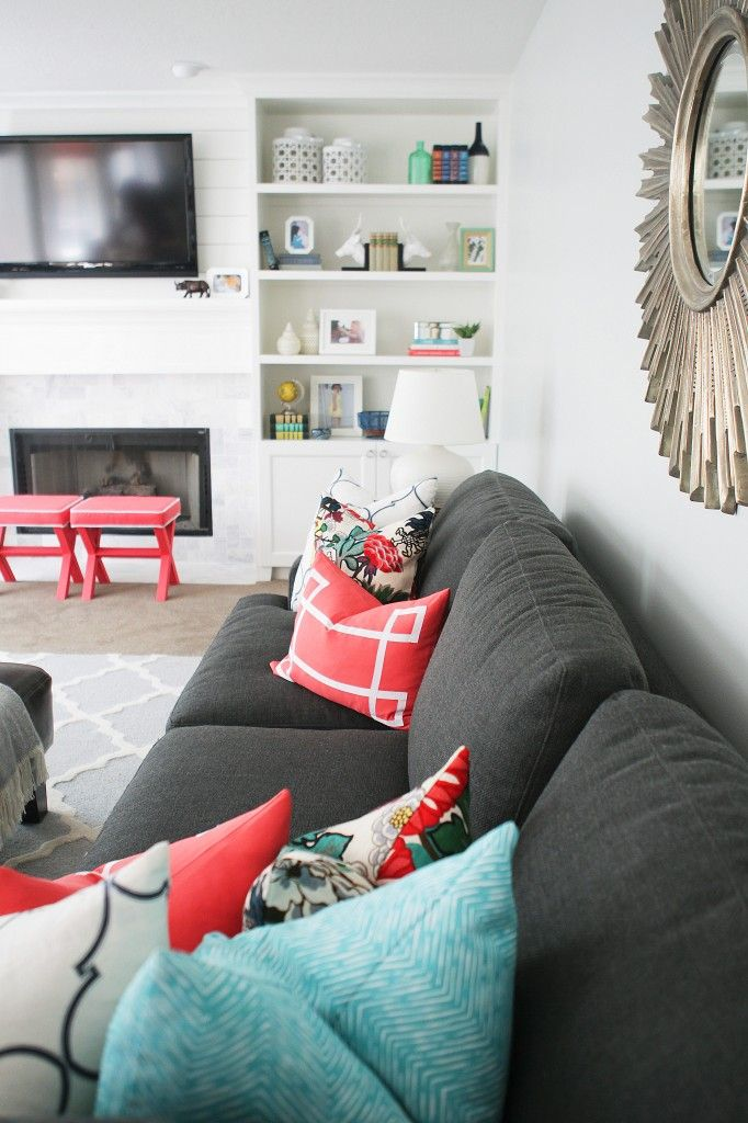 Color Inspiration Coral Pink Living Room Red Family Room Living Room Grey #red #and #teal #living #room #ideas