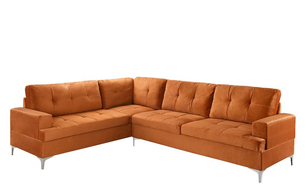 Davina Large Tufted 70s Inspired Sectional Sofa Velvet Sectional L Shaped Couch Sectional Sofa