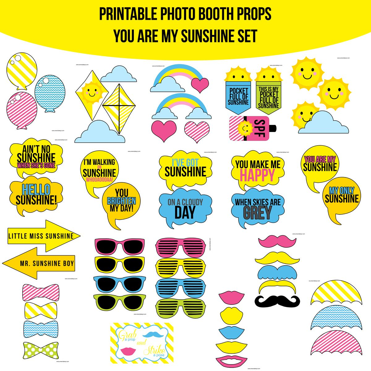 Photo Booth Quotes Instant Download Pink You Are My Sunshine Printable Photo Booth