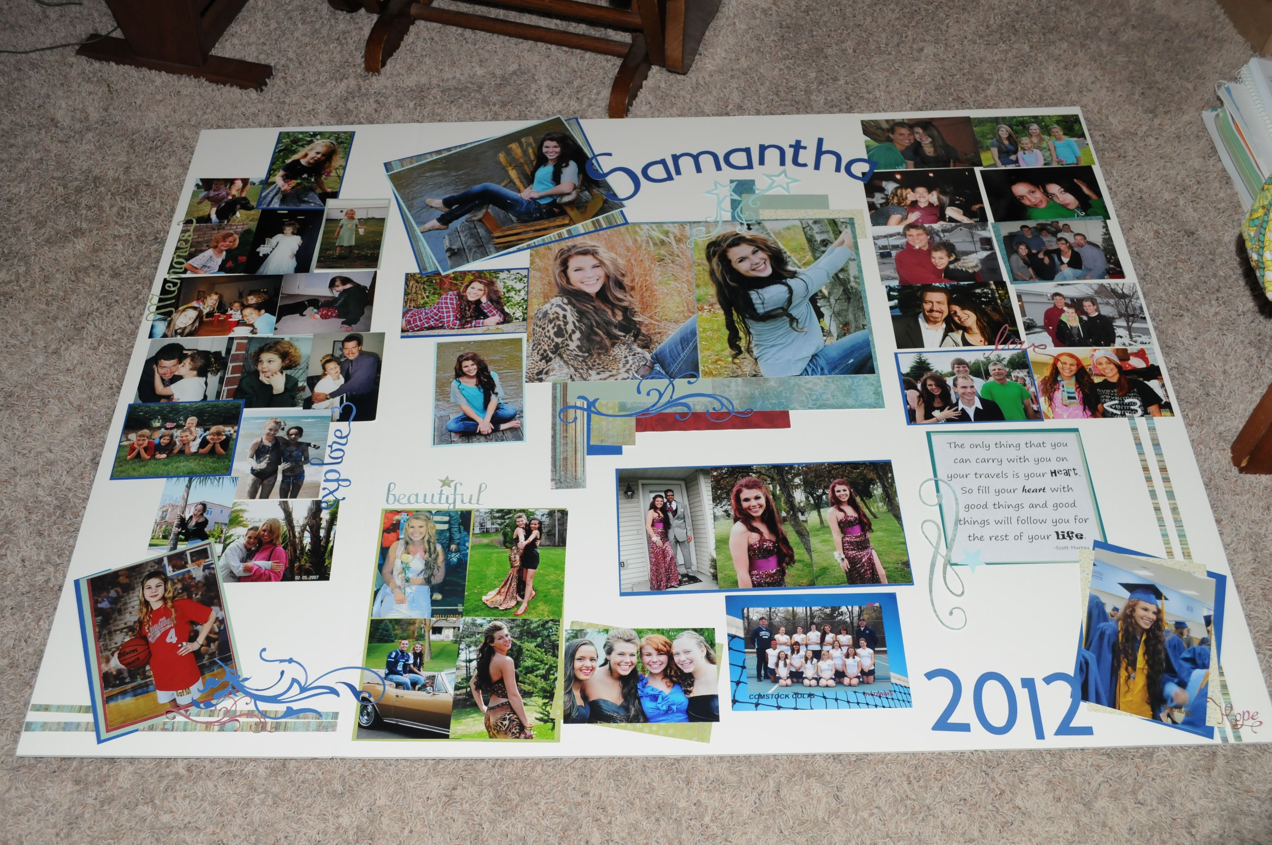Trifold display board for my nieces graduation open