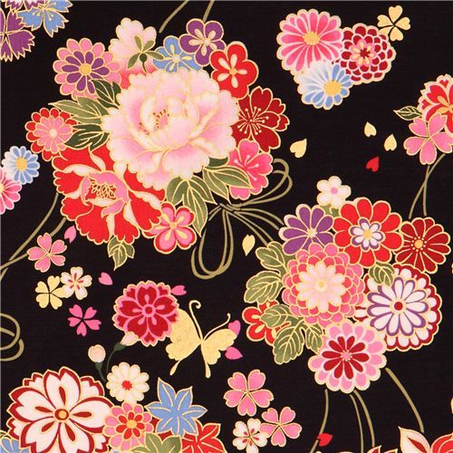 black Asia flower bouquet fabric butterfly gold Kokka