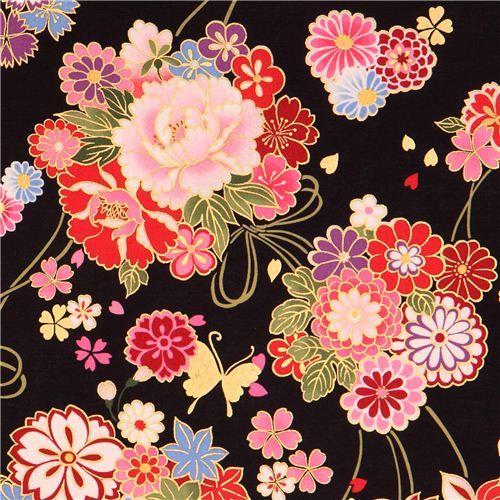 Black Asia Flower Bouquet Fabric Butterfly Gold Kokka Japanese Floral Design Japanese Art Japanese Patterns
