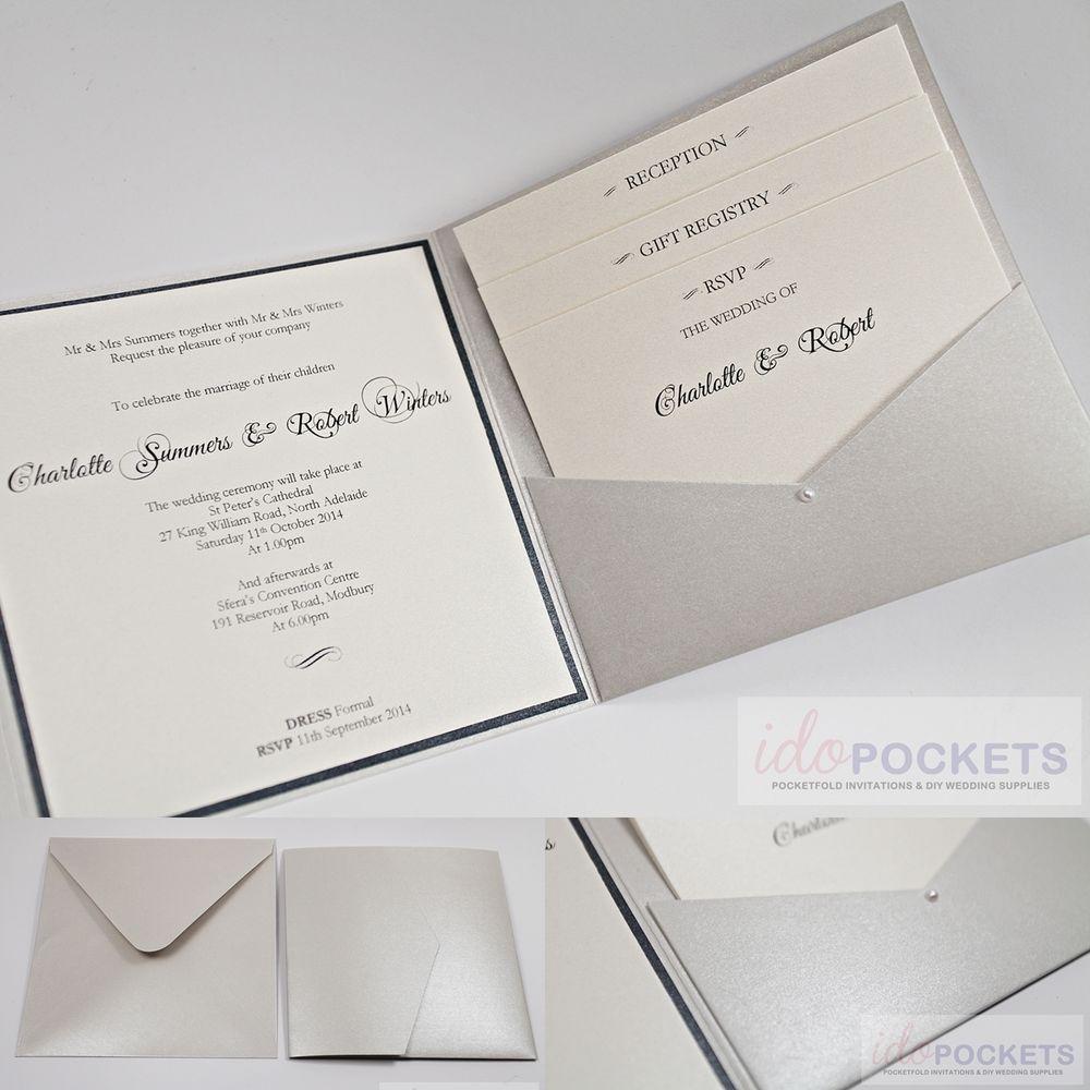 SILVER SHIMMER SQUARE WEDDING INVITATION ENVELOPES DIY SLEEVE POCKET ...