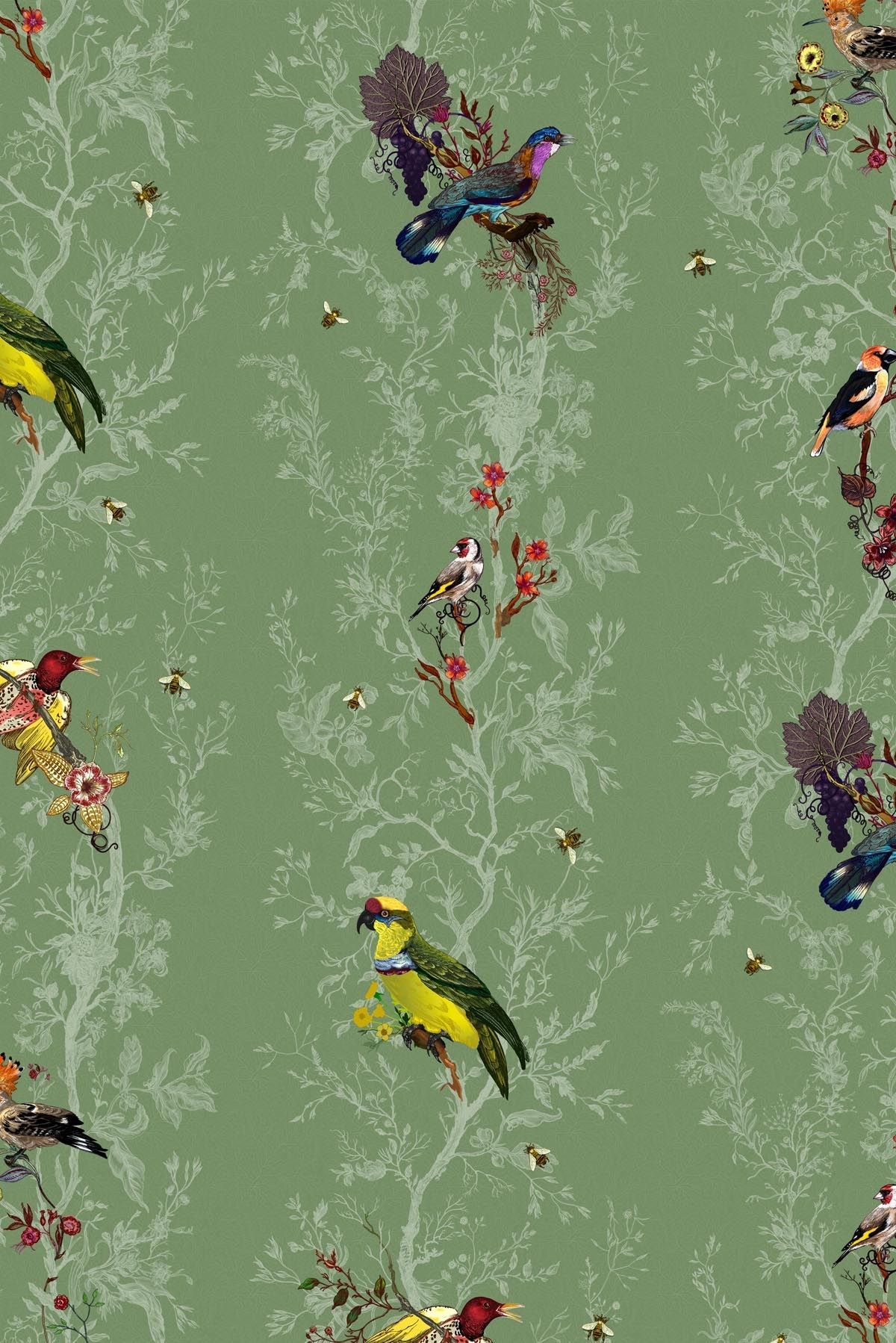Birds n Bees wallpaper comes in a ton of colors