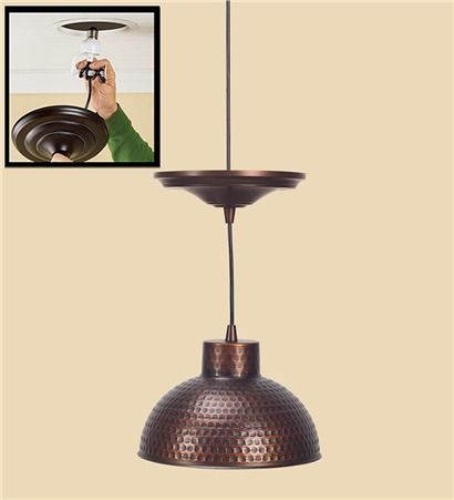 Screw in antique hammered copper pendant lighting with adjustable cord