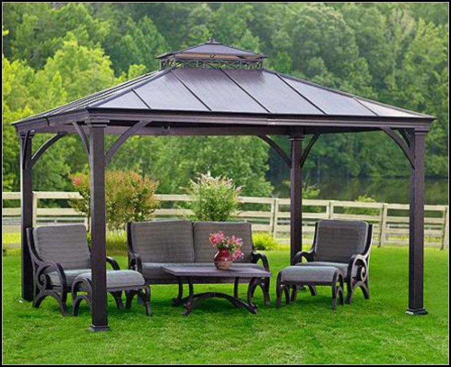 Gazebo Metal Steel Hardtop Roof Outdoor Patio Pergola Canopy Tent Wedding  Party #GazeboMetalSteelHardtop