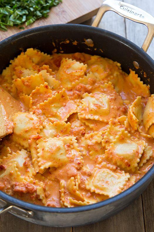 Ravioli With Creamy Sun Dried Tomato And Basil Sauce