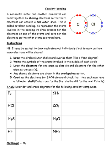 Drawing dot and cross covalent bonding diagrams.docx | Worksheets ...