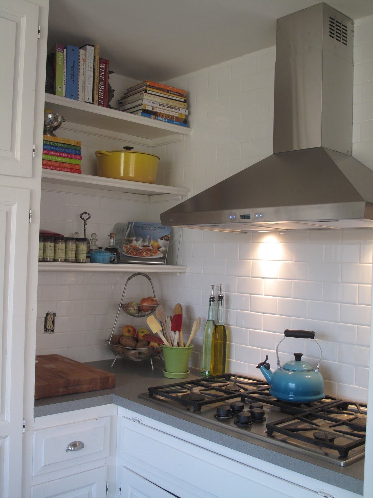 white subway tile backsplash, gray counters, white cupboards | for ...