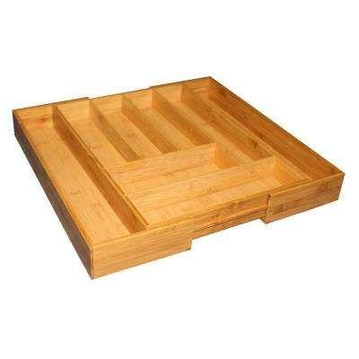 Bamboo Expandable Cutlery Tray Home Basics Cutlery Tray