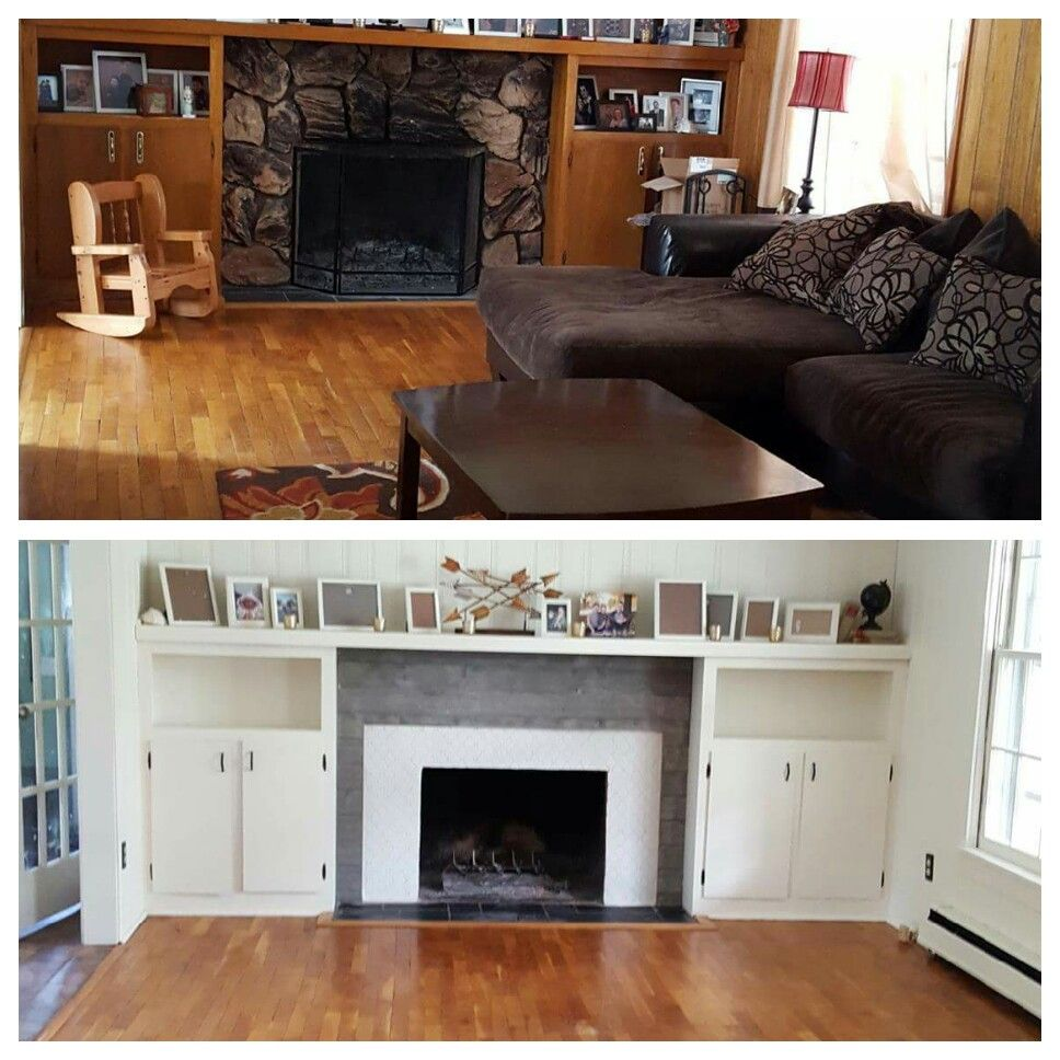 Fireplace Remodel Using Sherwin Williams Dover White Paint Grey Shiplap From Home Depot And Arabesque Tiles Gl