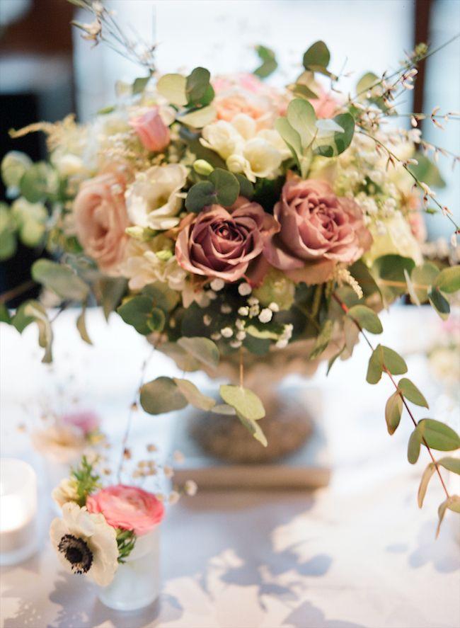 Pink And Green Garden Flower Arrangement Wedding Flowers