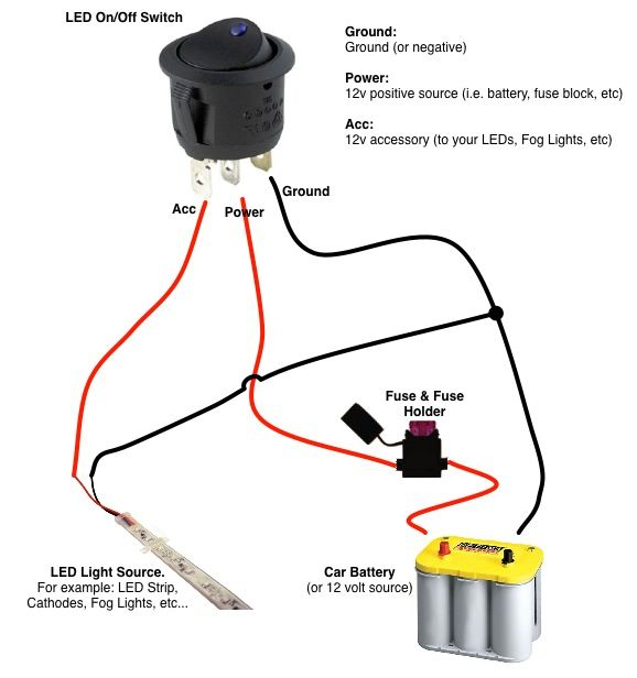 led rocker switch wiring diagram