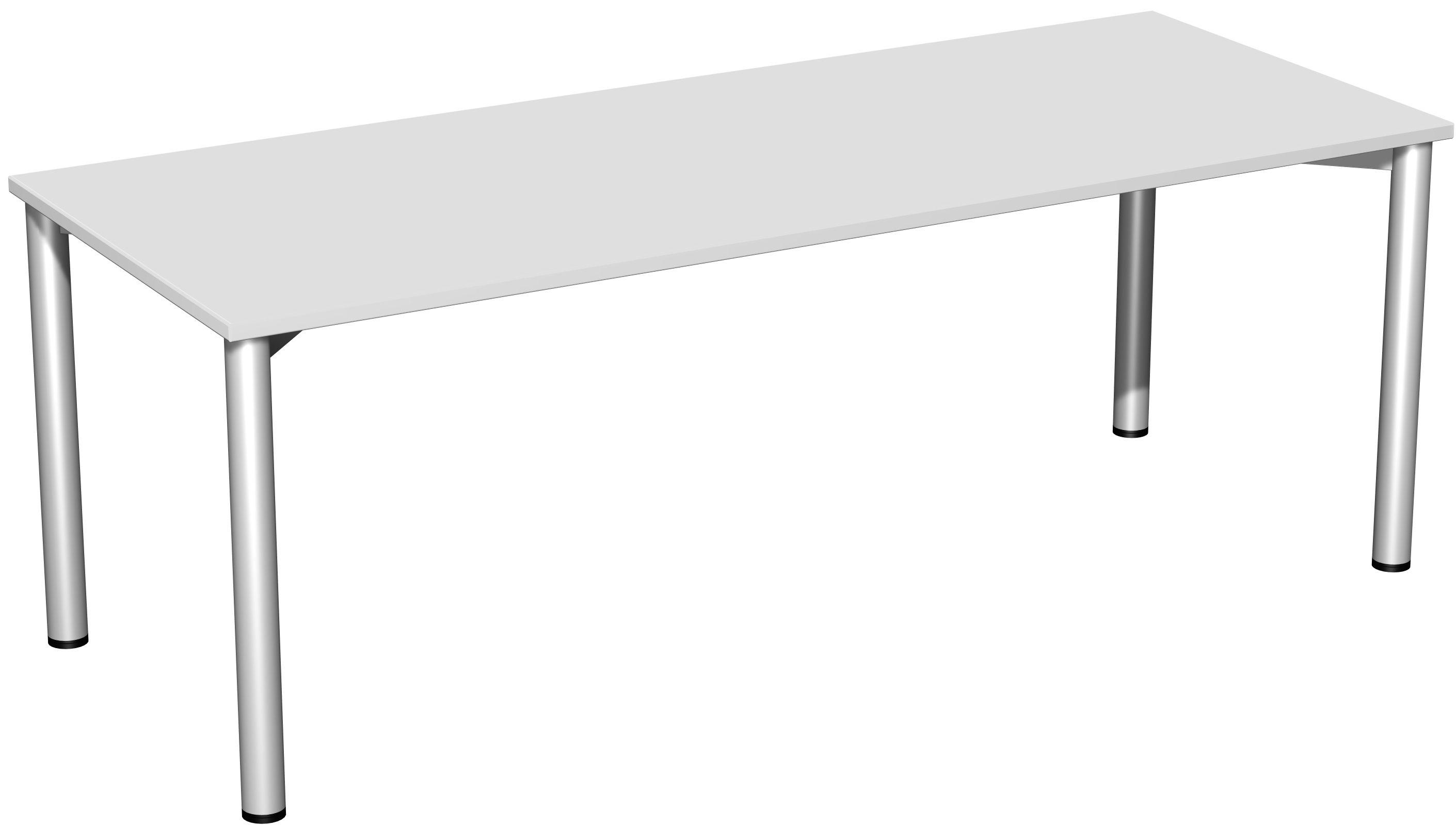 Konferenztisch Rundfuss 200x80cm Lichtgrau Silber Konferenztisch Tisch Haus Deko