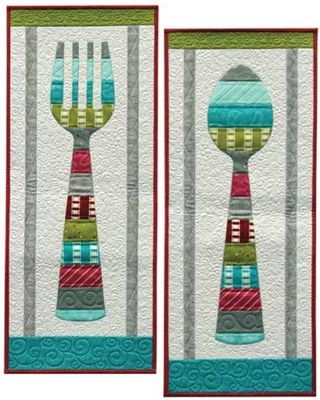 Fun Fork And Spoon Wall Hanging Quilt Pattern. Put up a Bon Apetit ... : wall hanging quilt patterns - Adamdwight.com