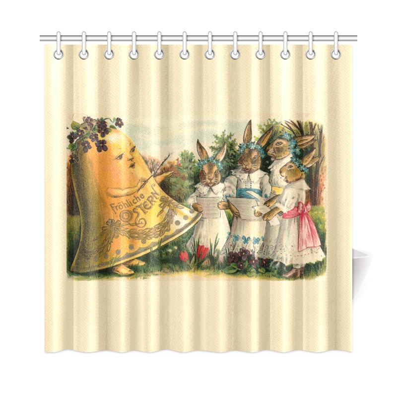 Happy Easter Vintage German Bunny Chorus Shower Curtain 72 | Shower ...