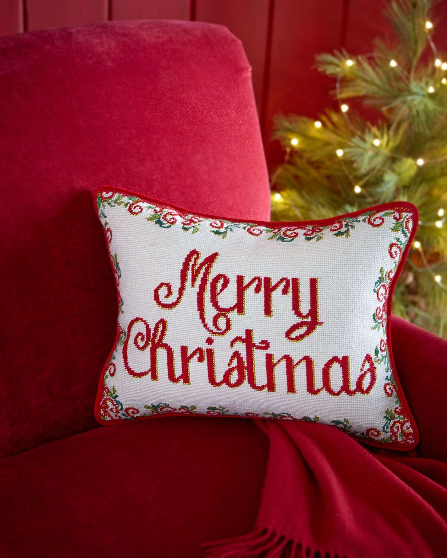 Merry Christmas Needlepoint Pillow, Multi Colors - Neiman Marcus ...