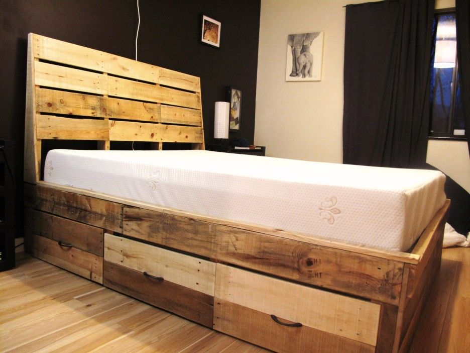 Bedroom. Untreated Wooden Bed Frame With Drawers As Storage And ...