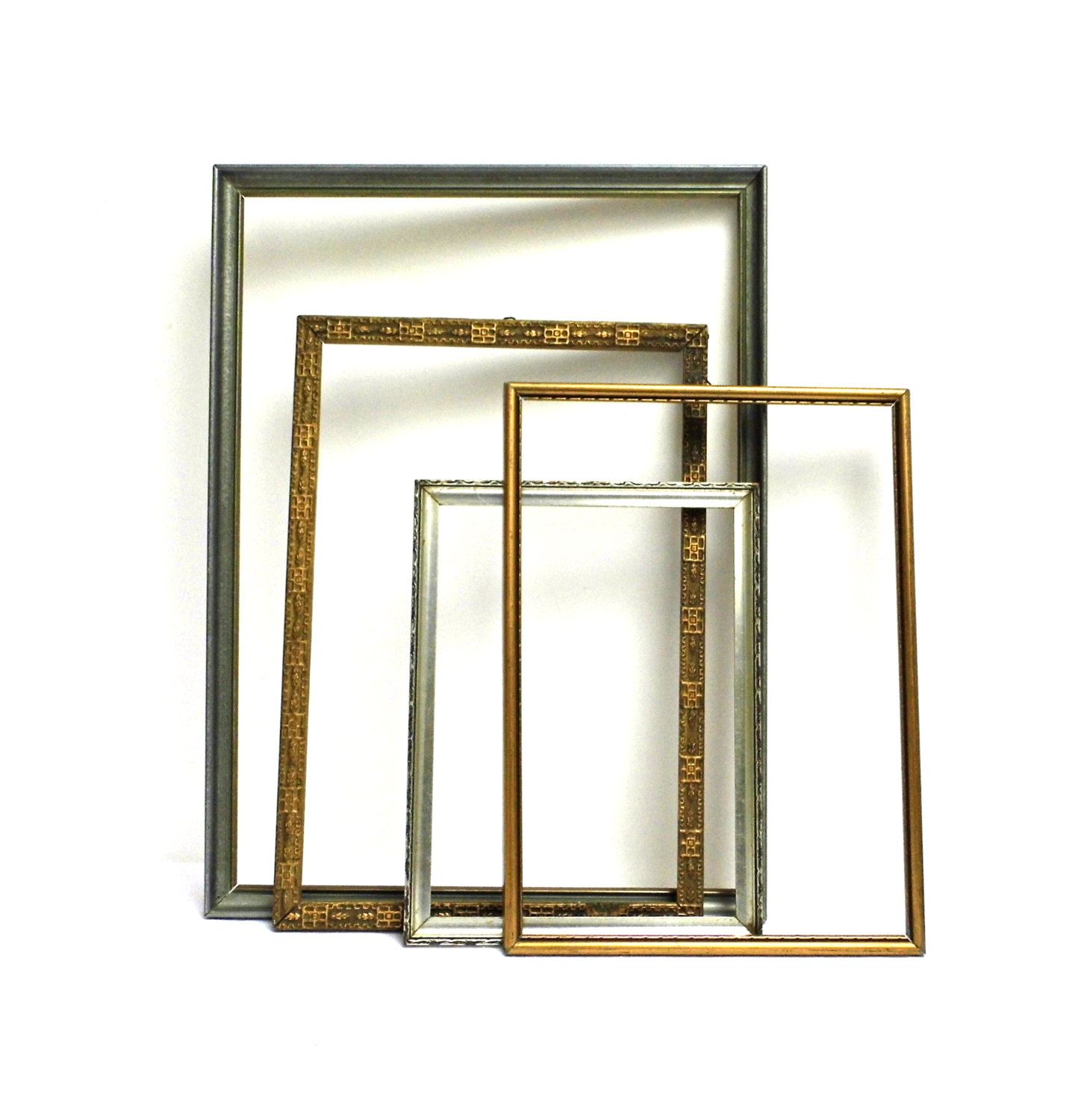 Set 4 Vintage Wood Open Frame Picture Mirror Wall Hanging