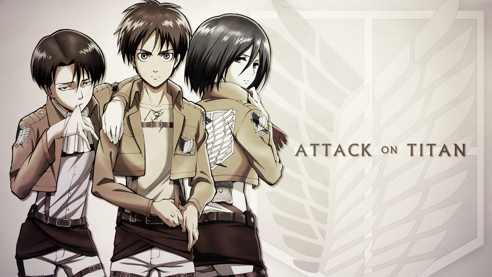Attack On Titan Eren Levi Mikasa By Welterz On Deviantart Attack On Titan Attack On Titan Eren Attack On Titan Game