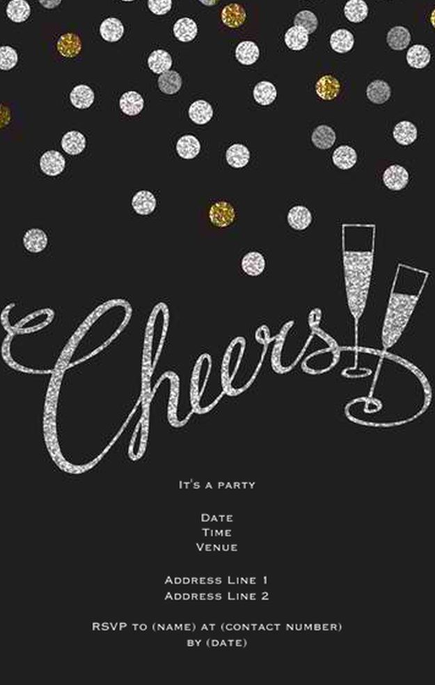New Year\'s Eve Invitations | Cheer party, DIY party and Diy party ideas