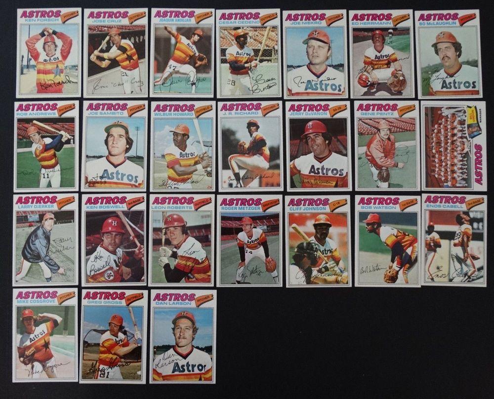 1977 topps houston astros team set of 24 baseball cards