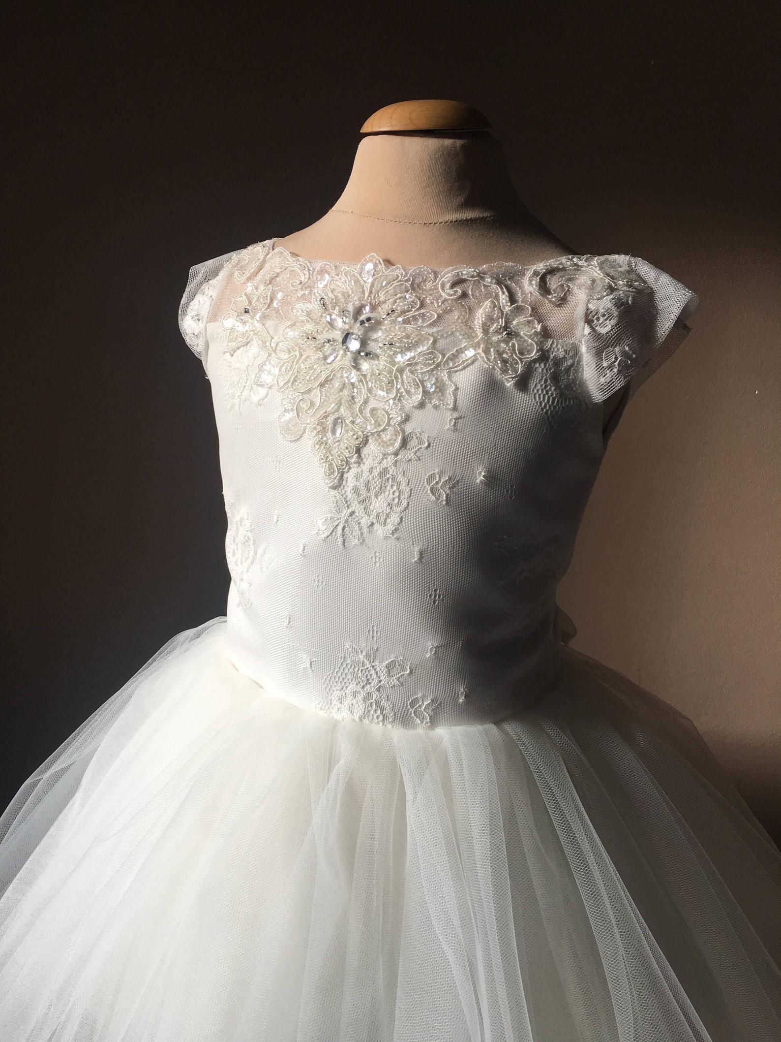 SHARON Ivory Lace Tulle Flower Girl Dress Vintage Dress ... Ivory Lace Vintage Flower Girl Dress