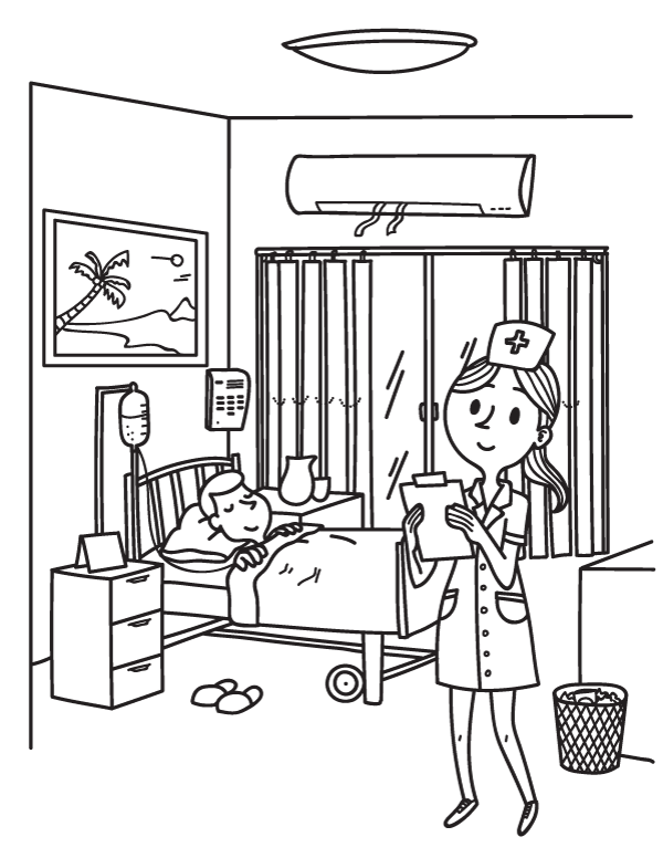 Free printable nurse coloring page. Download it at https