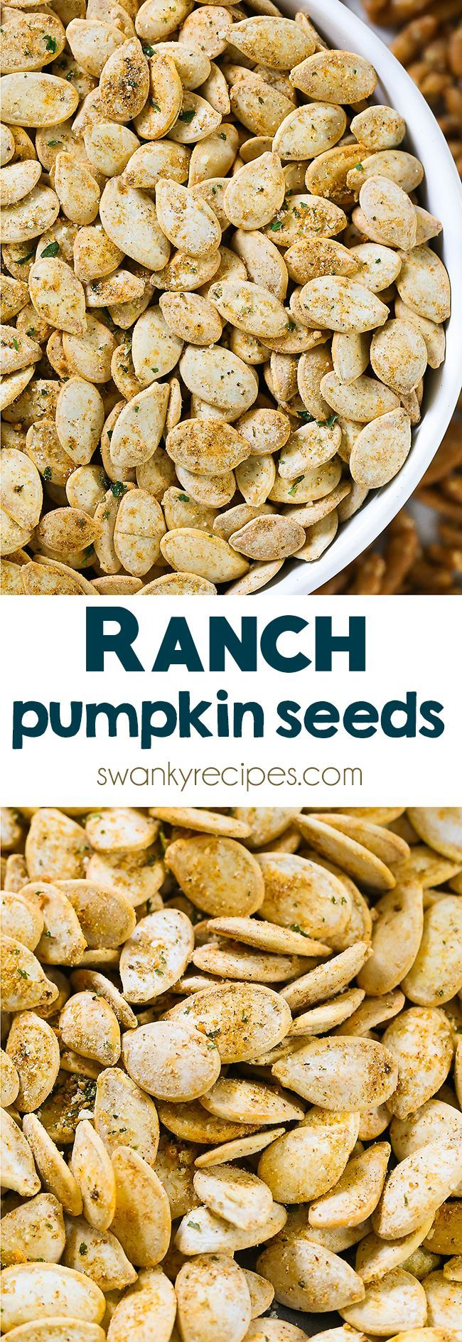 Ranch Pumpkin Seeds - Quick and easy roasted pumpkin seeds with a zesty ranch blend. You'll fall in love with this healthy Ranch Pumpkin Seed recipe. Perfect pumpkin seed snack this autumn. #pumpkinseedsrecipe
