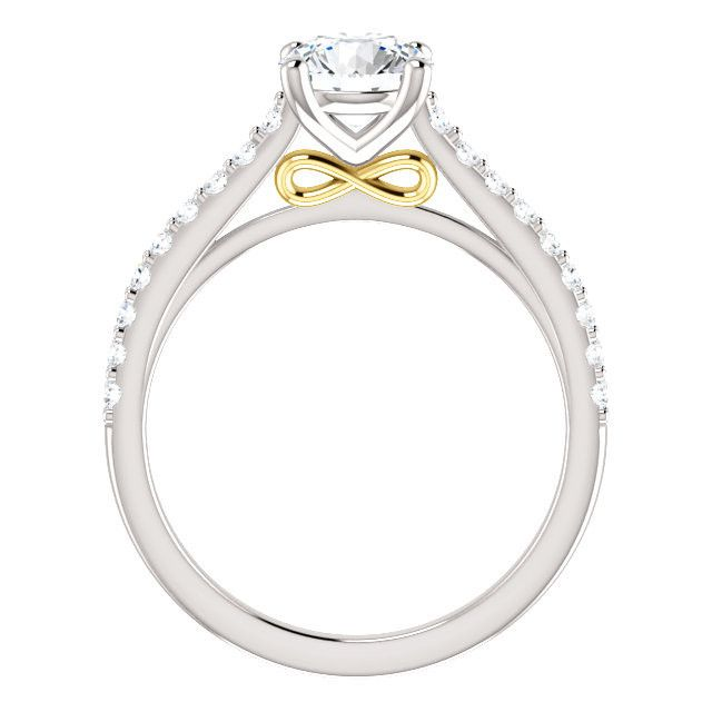 Two-Tone Design 14k White & Yellow Gold Prong Set Engagement Ring Mounting