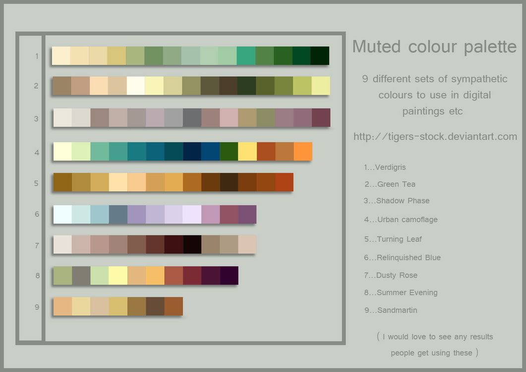 254 Colour Palette Muted By Tigers Stock