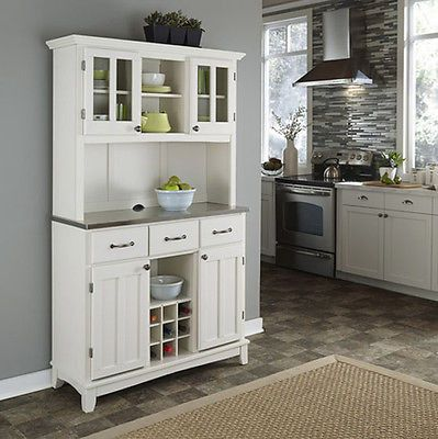 Buffet China Cabinet Kitchen Storage Hutch Wood W Stainless Steel Counter White