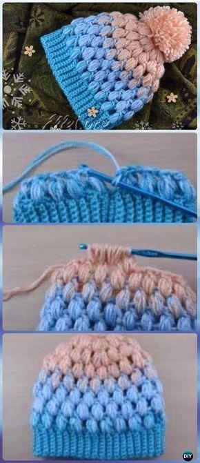 Horgolt Pom Pom Puff Stitch Beanie Hat Szabad Pattern - Horgolt ...