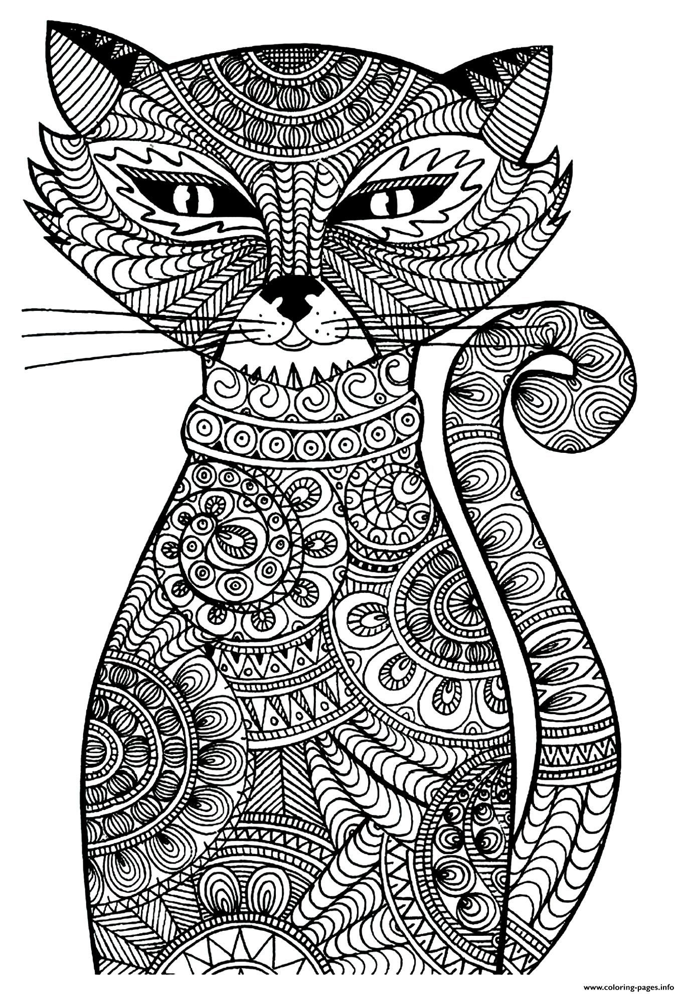 Print Kitten Adult Cat Coloring Pages Zentangle Pinterest