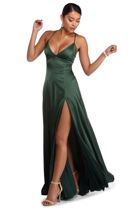 690a5fcf49e Plus Vera Satin Lace Up Formal Dress in 2019
