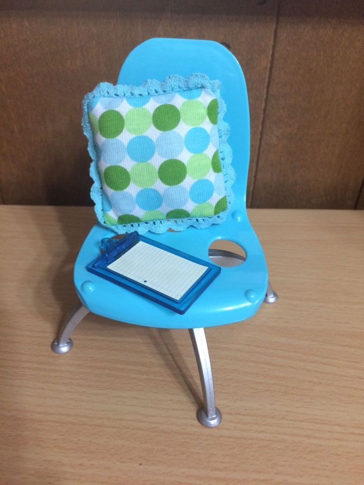 Barbie Doll Fashion Fever Blue Mod Chair Dot Throw Pillow Home Office Furniture