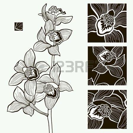 Vector Design Monochrome Vector Illustration With An Orchid Orchid Illustration Orchids Vector Illustration