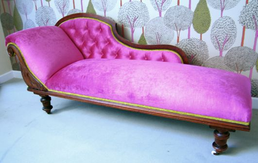plush pink chaise lounge, deep-buttoned with contrasting double ...