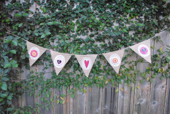 Valentine Burlap Banner/Hearts/Valentines Day by GlitterChickParty
