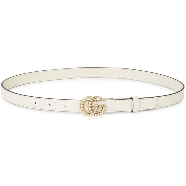 58f9c98af Gucci GG Faux Pearl-embellished Leather Belt ($440) ❤ liked on Polyvore  featuring accessories, belts, gucci belt, white studded belt, white belt,  ...