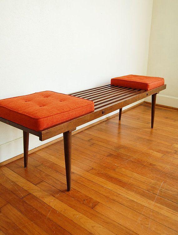 Mid Century Modern Slat Bench Part - 23: George Nelson Inspired Bench Mid Century Modern Slatted By Ljindustries