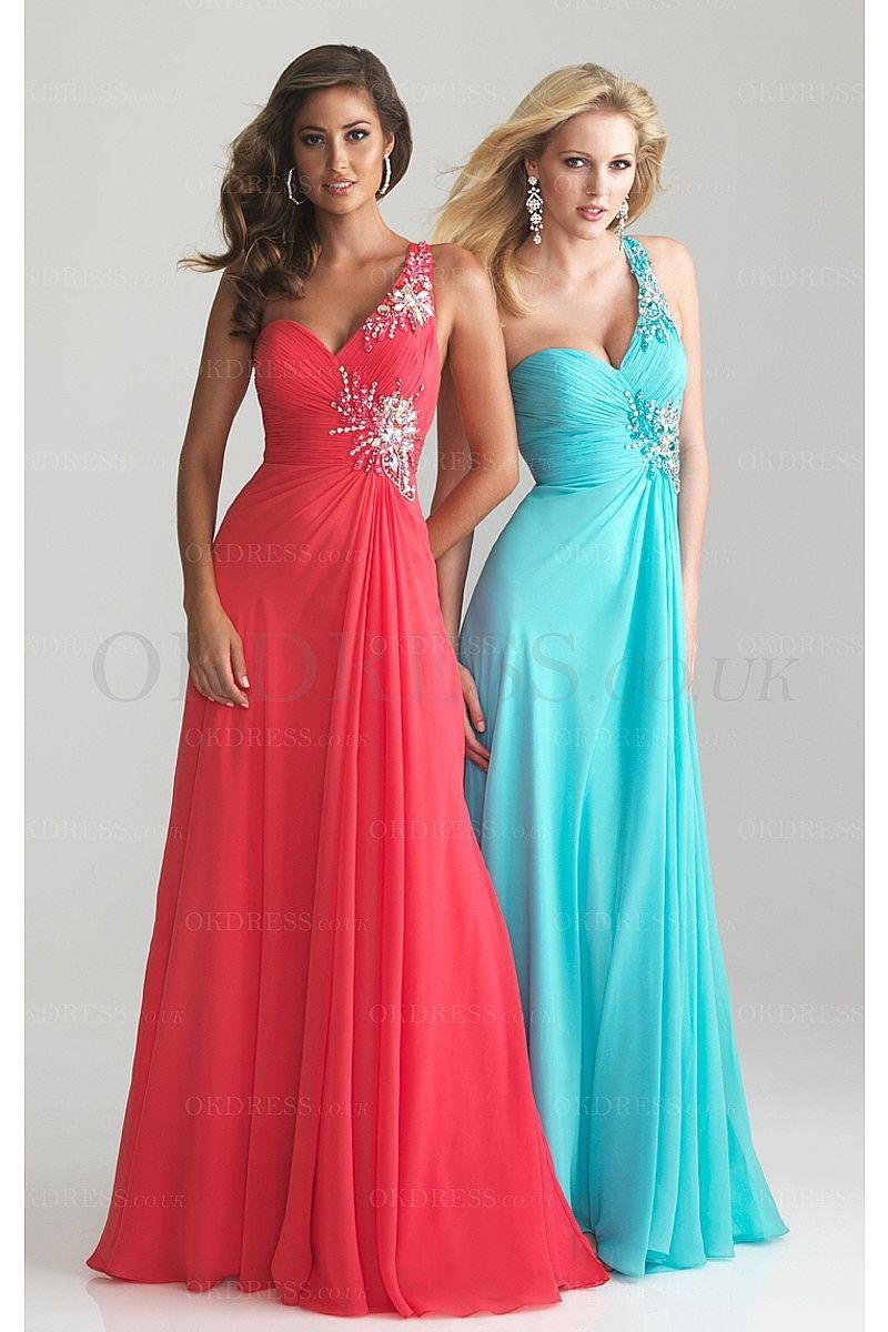 Wonderful Long Zipper Floor-length A-line One Shoulder Prom Dresses ...