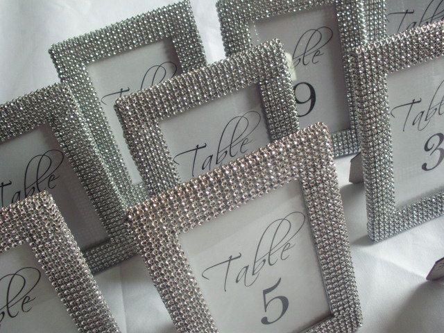 set of 20 silver bling 4x6 frames table number frames menu holders