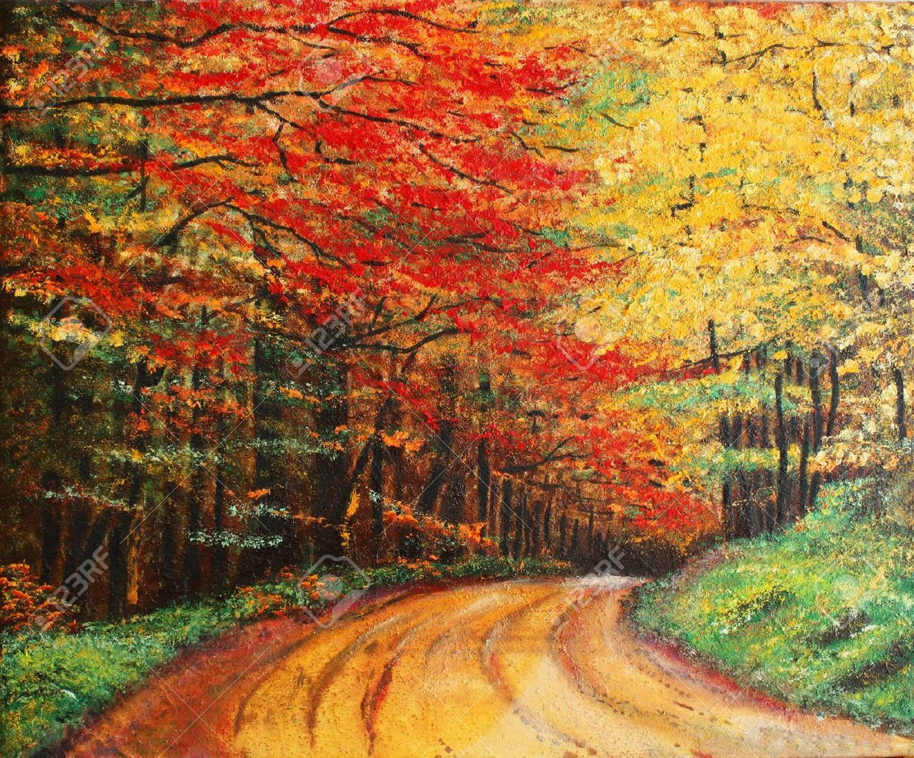 6361703-Colourfull-original-oil-painting-showing-a-road-forest-Stock-Photo.jpg (1300×1078)