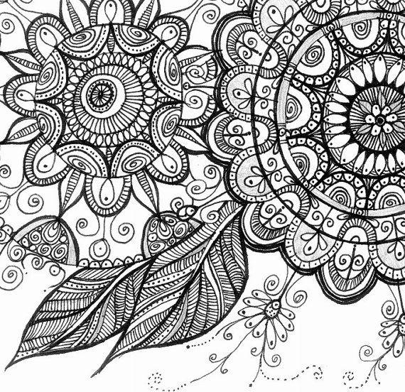 Paisley Doodle Art Zentangle Mandala Art Bohemian Wall decor