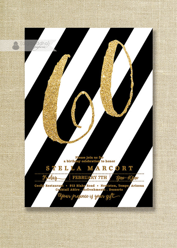 Black Gold Birthday Party Invitation By DigibuddhaPaperie 2000