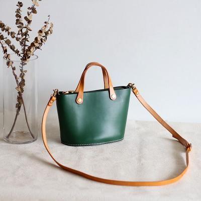 b6a40ae4f2253 Handmade Women's Fashion Green Leather Handbag Crossbody Bag Messenger Bag  Small Satchel 15020 - LISABAG