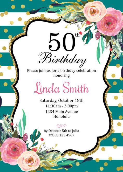 50th Birthday Invitation For Women Golden 50th Birthday Graduación en 2019 Invitacion