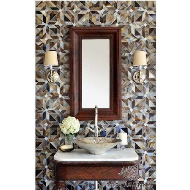 Transitional style bathroom interior. Mosaic tiles and wood.